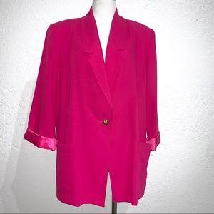 Vintage Sag Harbor Fuchsia Pink Blazer 80's 90's